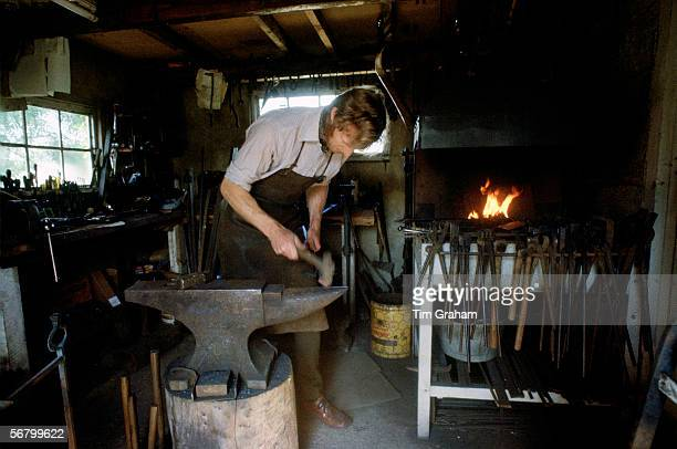 Blacksmith Hector Cole working on new gates for Highgrove House near Tetbury in Gloucestershire the country home of the Prince and Princess of Wales...