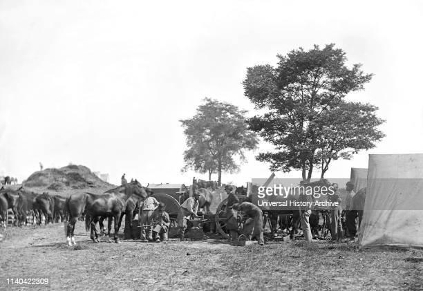 Blacksmith Shoeing Horses at Headquarters, Army of the Potomac, Battle of Antietam, Maryland, USA, Alexander Gardner, September 1862.