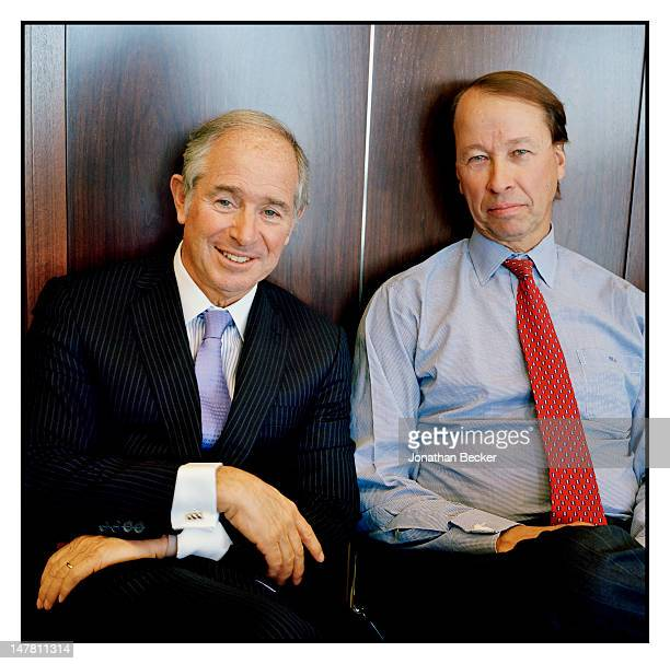 Blackstone cofounder Stephen Schwarzman and Blackstone president Hamilton James are photographed for Fortune Magazine on October 31 2011 in New York...