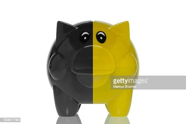 Black-yellow piggy bank, symbolic image for the black-yellow coalition, austerity