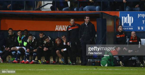 Blaclpool manager Gary Bowyer looks on during the Sky Bet League Two Play off Semi Final Second Leg match between Luton Town and Blackpool at...