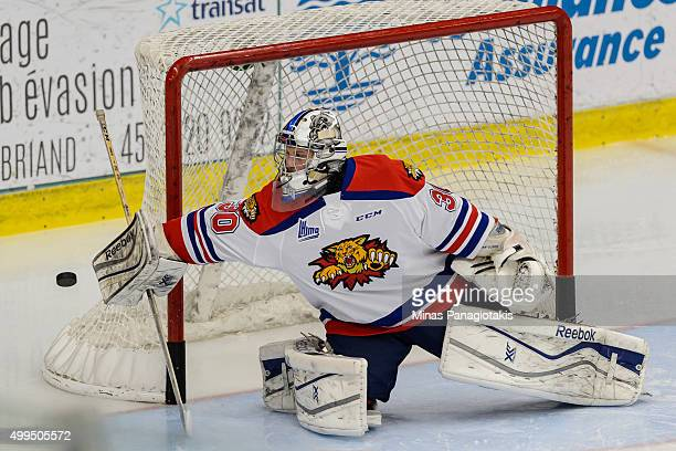 Blade Mann-Dixon of the Moncton Wildcats makes a blocker save during the warmup prior to the QMJHL game against the Blainville-Boisbriand Armada at...
