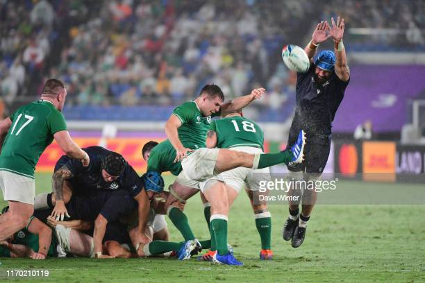 Blade THOMSON of Scotland tries to charge down a kick from Luke McGRATH of Ireland during the Rugby World Cup 2019 Group A match between Ireland and...