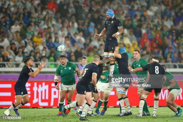Blade Thomson of Scotland wins a line out during the Rugby World Cup 2019 Group A game between Ireland and Scotland at International Stadium Yokohama...