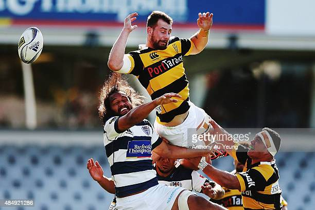 Blade Thomson of Taranaki competes for the lineout ball against Liaki Moli of Auckland during the round two ITM Cup match between Auckland and...