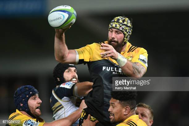 Blade Thomson of the Hurricanes takes a lineout during the round nine Super Rugby match between the Hurricanes and the Brumbies at McLean Park on...