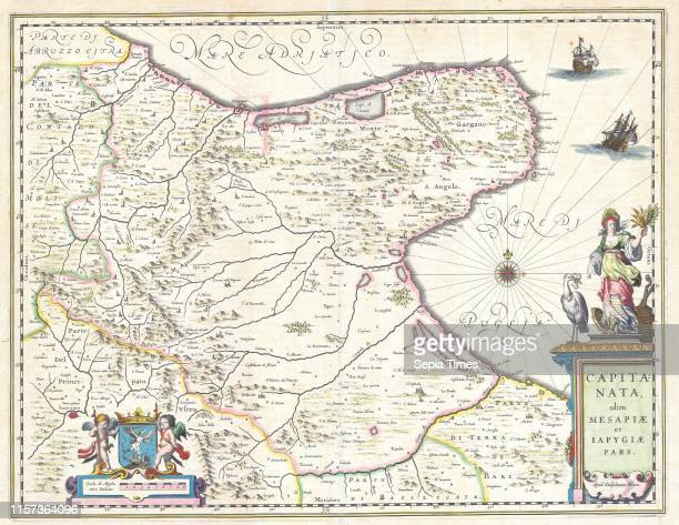 1630 Blaeu Map of Capitanata Foggia Italy