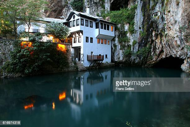 blagaj tekke at the source of the buna river, bosnia and herzegovina - frans sellies stock pictures, royalty-free photos & images
