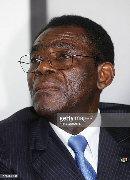 Equatorial Guinea's President Teodoro Obiang Nguema Mbasogo is pictured after signing a contract with Filippo Bagnato, chief executive of French and...