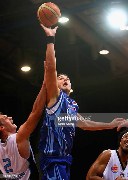Blagoj Janev of the Spirit goes up for a shot during the round 22 NBL match between the Sydney Spirit and the New Zealand Breakers at the Sydney...