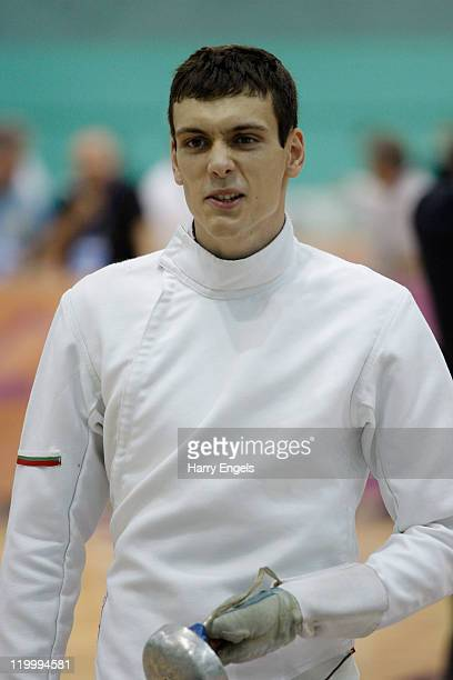 Blagoy Dimitrov of Bulgaria looks on during the men's semi final round at the modern pentathlon European Championships at Medway Park on July 28 2011...