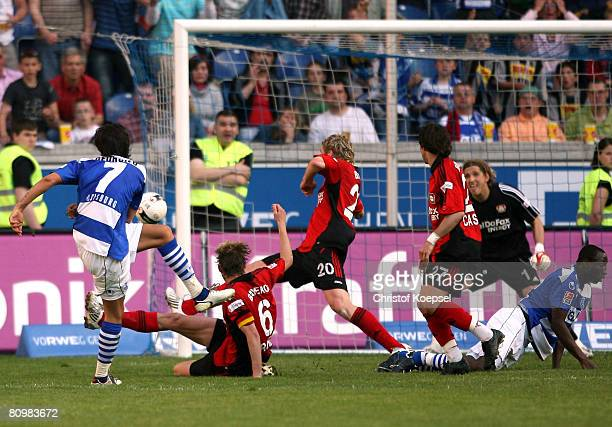Blagoy Georgiev of Duisburg scores the decision third goal during the Bundesliga match between MSV Duisburg and Bayer Leverkusen at the MSV Arena on...