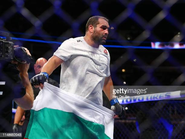 Blagoy Ivanov celebrates his victory over Tai Tuivasa at United Center on June 8 2019 in Chicago Illinois
