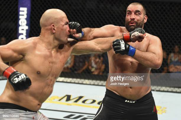 Blagoy Ivanov Junior Dos Santos of Brazil in their heavyweight fight during the UFC Fight Night event inside CenturyLink Arena on July 14 2018 in...