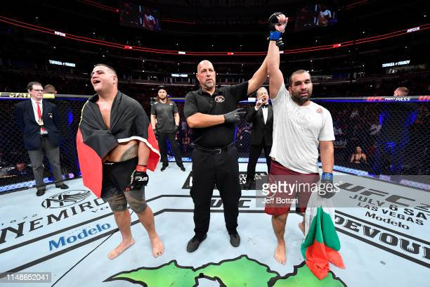 Blagoy Ivanov of Bulgaria celebrates his victory over Tai Tuivasa of Australia in their heavyweight bout during the UFC 238 event at the United...