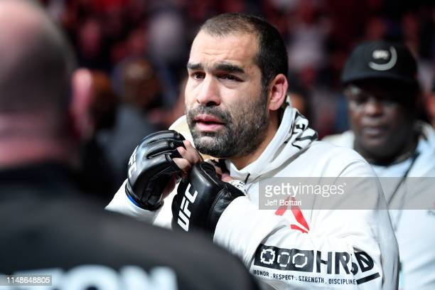 Blagoy Ivanov of Bulgaria prepares to enter the Octagon prior to his heavyweight bout against Tai Tuivasa of Australia during the UFC 238 event at...