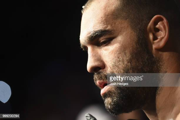 Blagoy Ivanov prepares to enter the Octagon before facing Junior Dos Santos of Brazil in their heavyweight fight during the UFC Fight Night event...