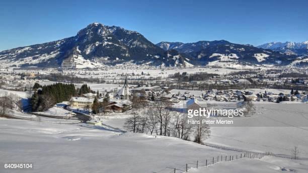 Blaichach and Mount Gruenten near Sonthofen, Allgaeu Alps, Svabia, Bavaria, Germany