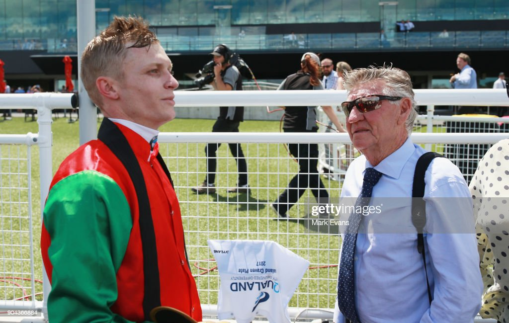 Blaike McDougall talks to trainer Les Bridge after winning race 4 during Sydney Racing at Royal Randwick Racecourse on January 13, 2018 in Sydney, Australia.
