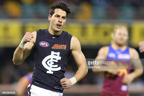 Blaine Boekhorst of the Blues celebrates a goal during the round 20 AFL match between the Brisbane Lions and the Carlton Blues at The Gabba on August...