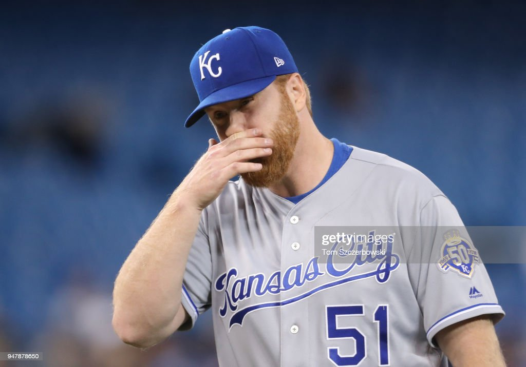 Blaine Boyer #51 of the Kansas City Royals reacts as he exits the game after being relieved in the sixth inning during MLB game action against the Toronto Blue Jays at Rogers Centre on April 17, 2018 in Toronto, Canada.