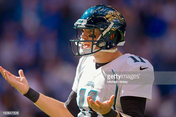 Blaine Gabbert of the Jacksonville Jaguars looks back to the sidelines for a play against the Indianapolis Colts at Lucas Oil Stadium on September 23...