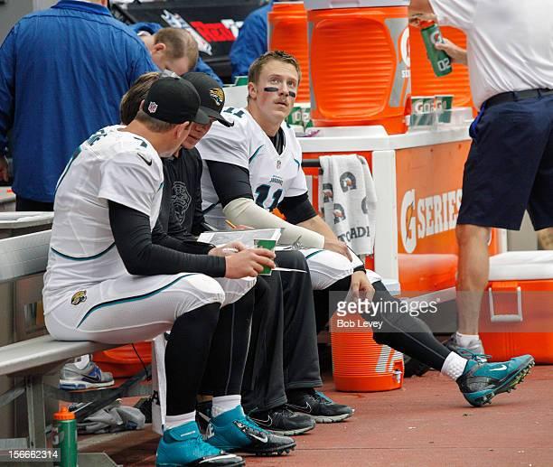Blaine Gabbert of the Jacksonville Jaguars looks up at the scoreboard at Reliant Stadium on November 18 2012 in Houston Texas Houston wins 4337 in...