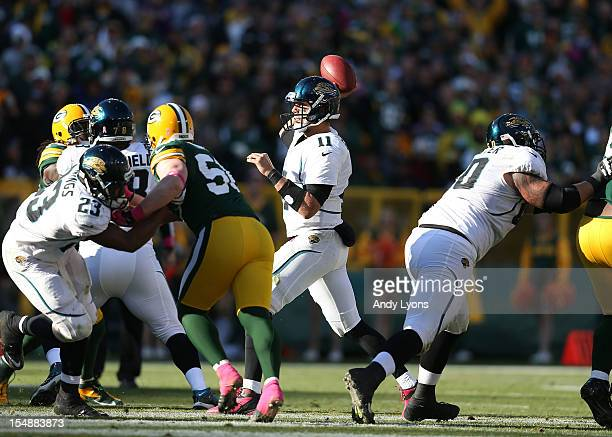 Blaine Gabbert of the Jacksonville Jaguars throws a pass during the NFL game against the Green Bay Packersat Lambeau Field on October 28 2012 in...