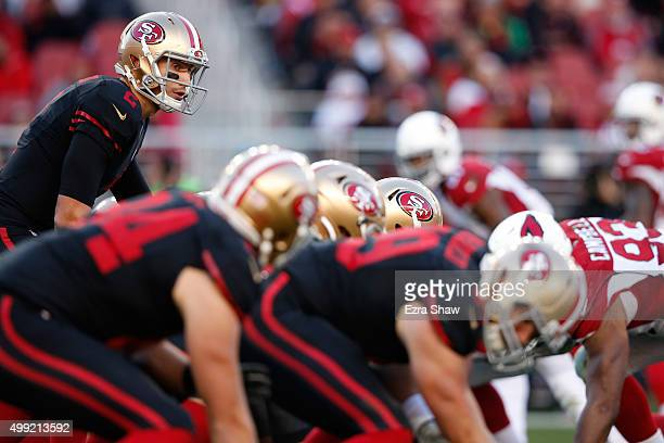 Blaine Gabbert of the San Francisco 49ers lines up under center during their NFL game against the Arizona Cardinals at Levi's Stadium on November 29...