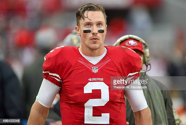 Blaine Gabbert of the San Francisco 49ers looks on from the sidelines against the Atlanta Falcons during their NFL football game at Levi's Stadium on...