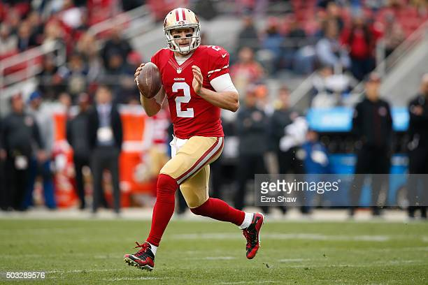 Blaine Gabbert of the San Francisco 49ers looks to pass against the St Louis Rams during their NFL game at Levi's Stadium on January 3 2016 in Santa...