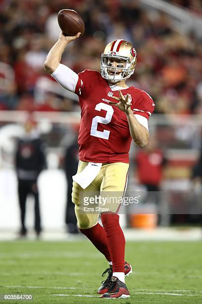 Blaine Gabbert of the San Francisco 49ers looks to pass against the Los Angeles Rams during their NFL game at Levi's Stadium on September 12 2016 in...