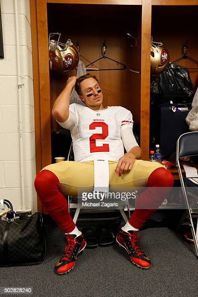 Blaine Gabbert of the San Francisco 49ers relaxes in the locker room prior to the game against the Detroit Lions at Ford Field on December 27 2015 in...