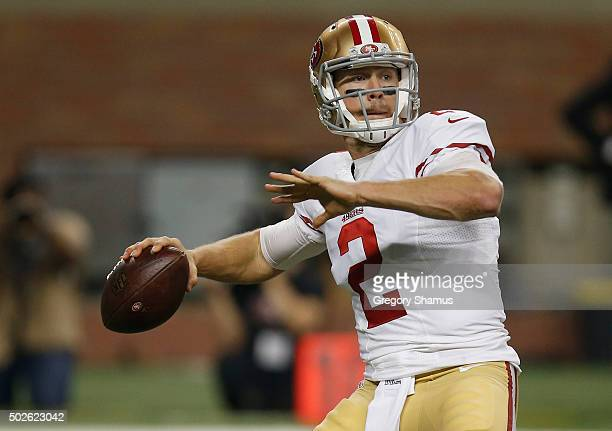 Blaine Gabbert of the San Francisco 49ers throws a second quarter pass against the Detroit Lions at Ford Field on December 27 2015 in Detroit Michigan
