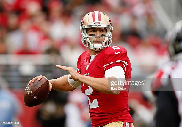 Blaine Gabbert of the San Francisco 49ers throws the ball during their game against the Atlanta Falcons at Levi's Stadium on November 8 2015 in Santa...