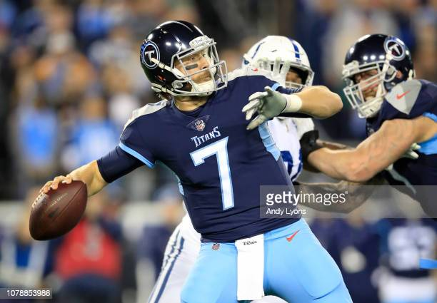 Blaine Gabbert of the Tennessee Titans throws the ball against the Indianapolis Colts at Nissan Stadium on December 30 2018 in Nashville Tennessee