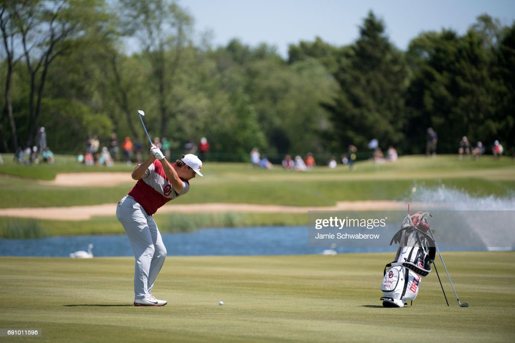 Blaine Hale of the University of Oklahoma hits an approach shot during the Division I Men's Golf Team Championship held at Rich Harvest Farms on May 31, 2017 in Sugar Grove, Illinois. Oklahoma won the team national title.