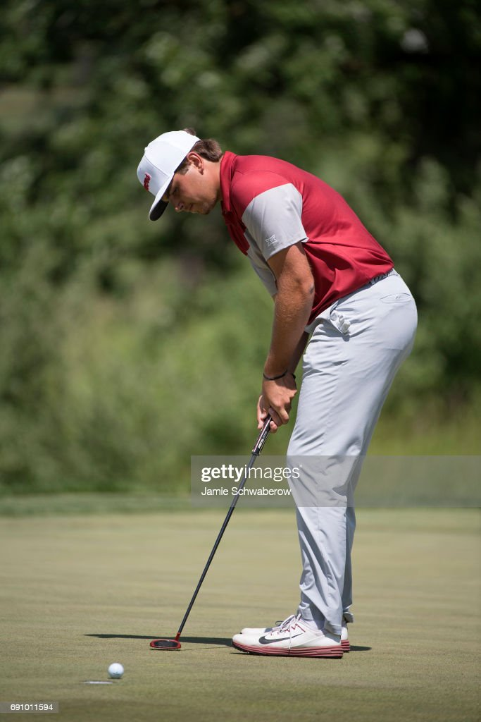 Blaine Hale of the University of Oklahoma putts during the Division I Men's Golf Team Championship held at Rich Harvest Farms on May 31, 2017 in Sugar Grove, Illinois. Oklahoma won the team national title.