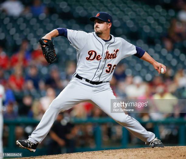 Blaine Hardy of the Detroit Tigers pitches against the Cleveland Indians during the sixth inning at Progressive Field on July 16 2019 in Cleveland...