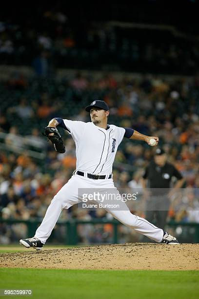 Blaine Hardy of the Detroit Tigers pitches against the Kansas City Royals at Comerica Park on August 15 2016 in Detroit Michigan