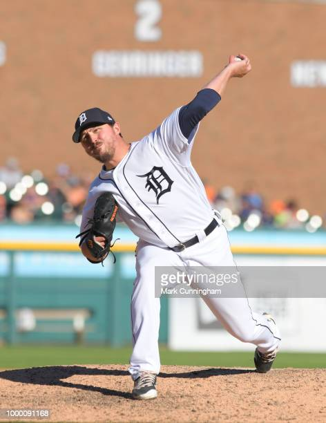 Blaine Hardy of the Detroit Tigers pitches during the game against the Texas Rangers at Comerica Park on July 7 2018 in Detroit Michigan The Tigers...