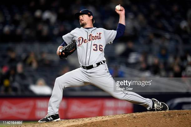 Blaine Hardy of the Detroit Tigers pitches during the seventh inning of the game against the New York Yankees at Yankee Stadium on April 01 2019 in...