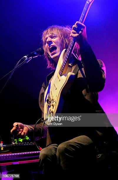Blaine Harrison of The Mystery Jets performs live on stage at the Camden Roundhouse, on November 11, 2010 in London, England.