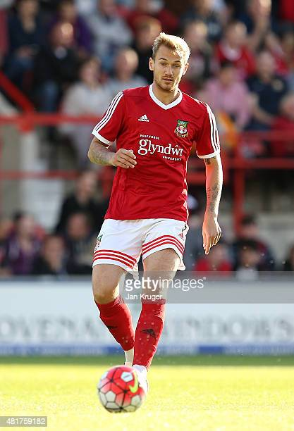 Blaine Hudson of Wrexham during the pre season friendly match between Wrexham and Stoke City at Racecourse Ground on July 22 2015 in Wrexham Wales