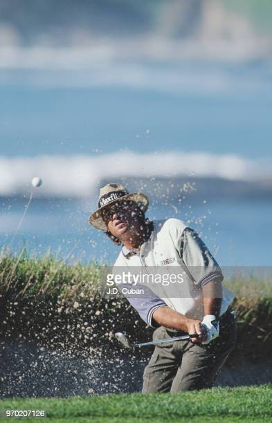 Blaine McCallister of the United States plays out of a bunker during the ATT Pebble Beach ProAm golf tournament on 3 February 1995 at the Pebble...