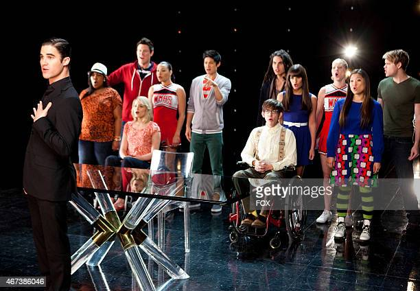 """Blaine performs with the glee club in the """"Dance With Somebody"""" episode of GLEE airing Tuesday, April 24 on FOX. Also pictured L-R: Amber Riley, Cory..."""