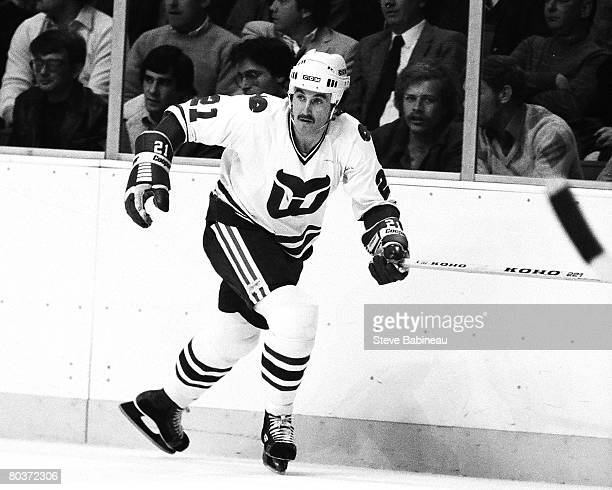 Blaine Stoughton of the Hartford Whalers skates in game against the Boston Bruins at Hartford Civic Center