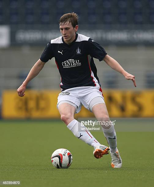 Blair Alston of Falkirk controls the ball during the Pre Season Friendly match between Falkirk v Rotherham United at The Falkirk Stadium on July 18...