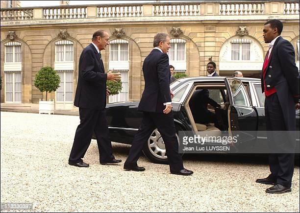 Blair And Chirac In Paris Talks On October 7Th 2005 In Paris France Here French President Jacques Chirac British Prime Minister Tony Blair
