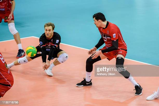 Blair Bann and Baptiste Geiler of Chaumont during the CEV Champions League match Chaumont 52 and SIR Safety Perugia on March 14 2019 in Reims France